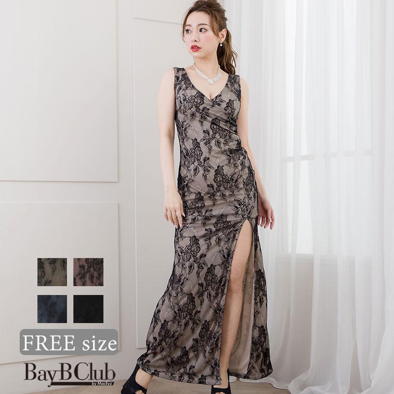 レースタイトロングドレス