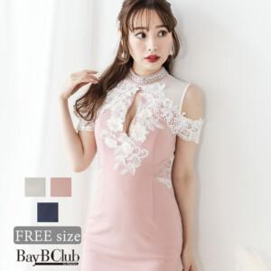 オフショルレースフリルミニタイトドレス