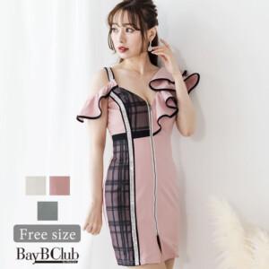 フリルアシメスリーブミニタイトドレス